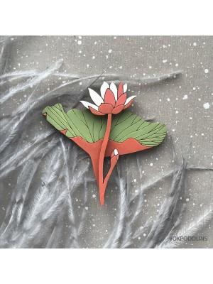 Брошь Лилия рыже-зеленом цвете