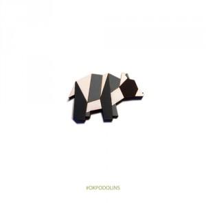 Брошь Оригами медведь