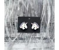 Сережки Единорожки с фиолетевой гривой
