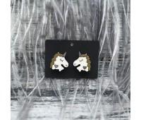 Сережки Единорожки с золотой гривой